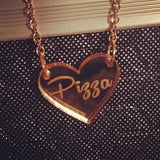 Pizza Heart Gold Mirror Acrylic Necklace