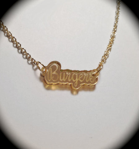 Burgers Gold Mirror Acrylic Necklace