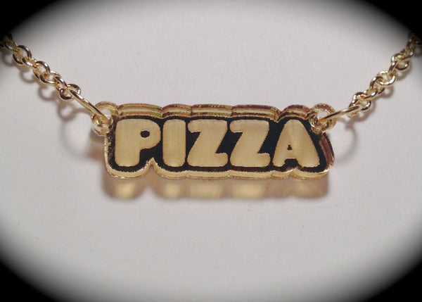 Pizza Gold Mirror Acrylic Necklace