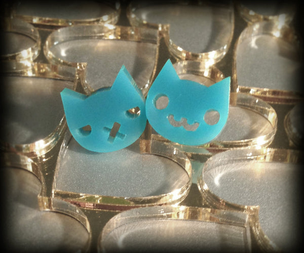 Turquoise Grumpy Kitty / Happy Kitty Stud Earrings