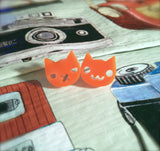 Orange Grumpy Kitty / Happy Kitty Stud Earrings
