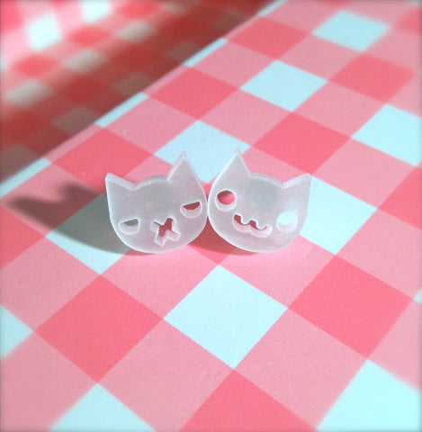 Pearl White Grumpy Kitty / Happy Kitty Supah Stud Earrings