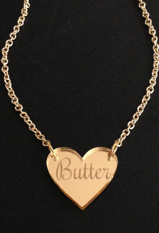 Butter Heart Gold Mirror Acrylic Necklace
