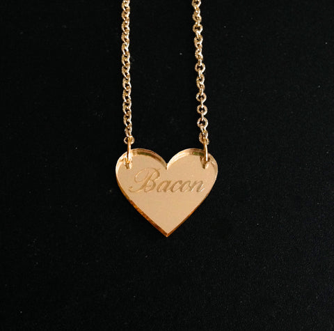 Bacon Heart Gold Mirror Acrylic Necklace