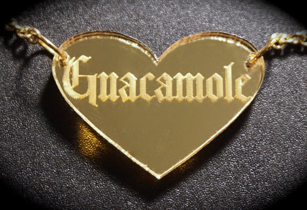 Gothic Guacamole Gold Heart Mirror Acrylic Necklace
