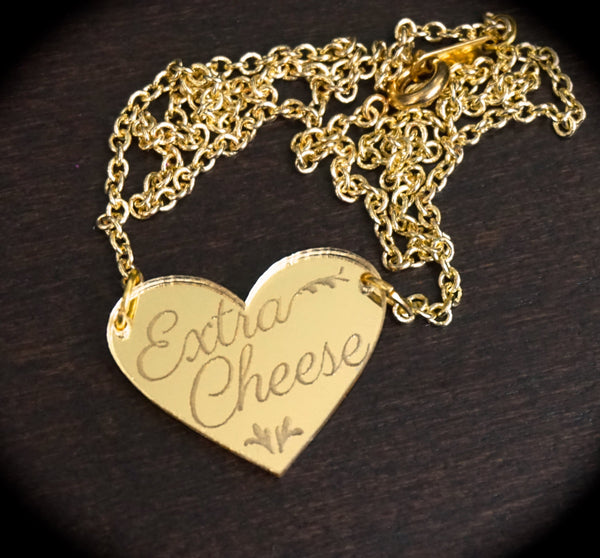 Extra Cheese Gold Heart Mirror Acrylic Necklace