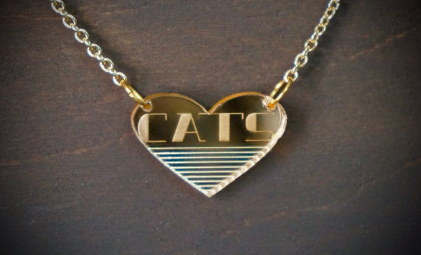 CATS Modern Art Deco Gold Mirror Acrylic Necklace