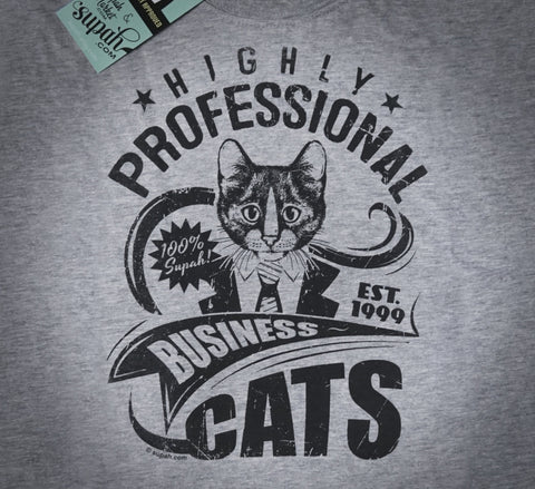 Highly Professional Business Cats Unisex Tee Navy on Grey