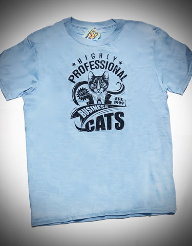 Highly Professional Business Cats Unisex Tee Navy on Light Blue