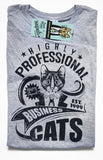 Highly Professional Business Cats Ladies Tee Navy on Sport Grey
