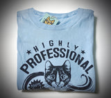 Highly Professional Business Cats Ladies Tee Navy on Light Blue
