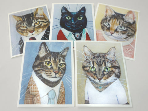 Set of 5 Highly Professional Business Cat Notecards Set #3