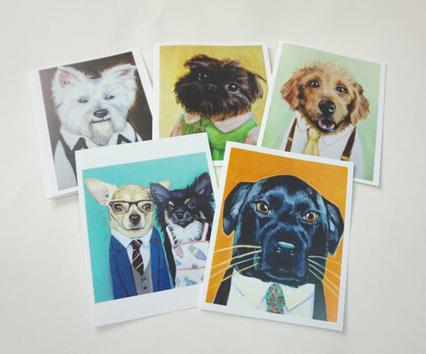 Set of 5 Supah Dog Notecards