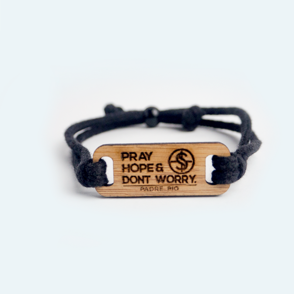 Pray Hope and Don't Worry bamboo wristbands