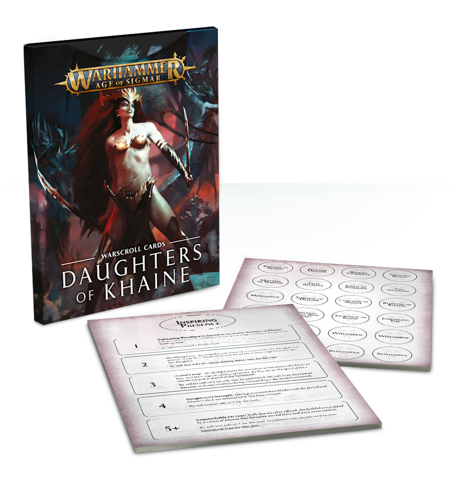 WARSCROLL CARDS DAUGHTERS OF KHAINE PRE-ORDER DICEHEADdotCOM