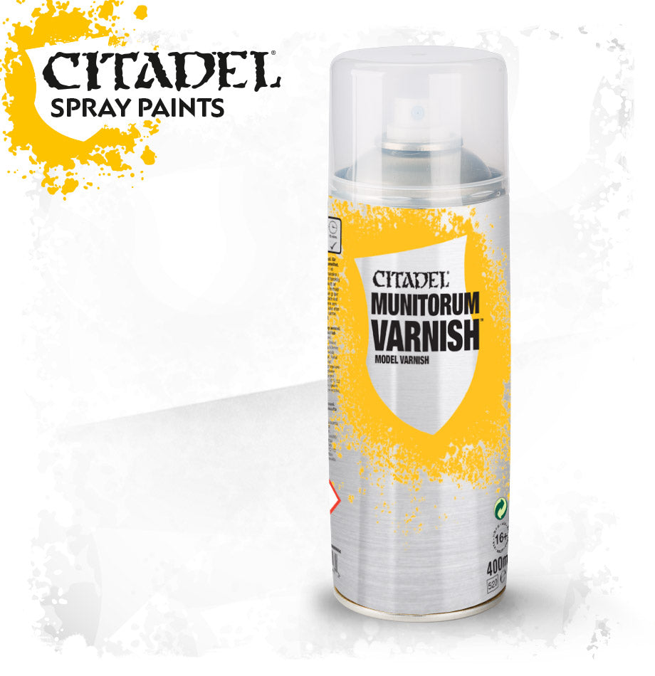 CITADEL MUNITORUM VARNISH (SPRAY CAN) DICEHEADdotCOM