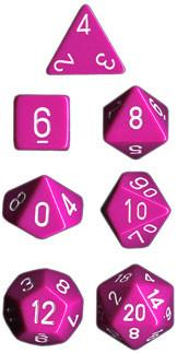 """Opaque Light Purple/White polyhedral dice set (7)