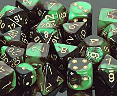 """Gemini Black-Green/Gold 12mm d6 dice set (36)