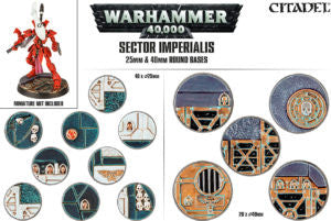 CITADEL SECTOR IMPERIALIS 25 and 40MM ROUND BASES (QTY 60)  DICEHEADdotCOM