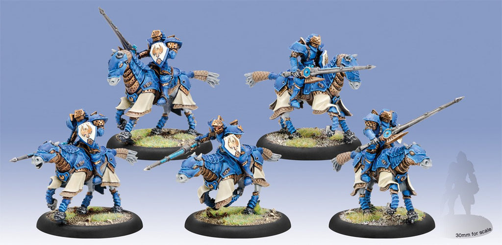 Warmachine Cygnar Storm Lances Cavalry Unit (5) (resin & white metal) Box WEB