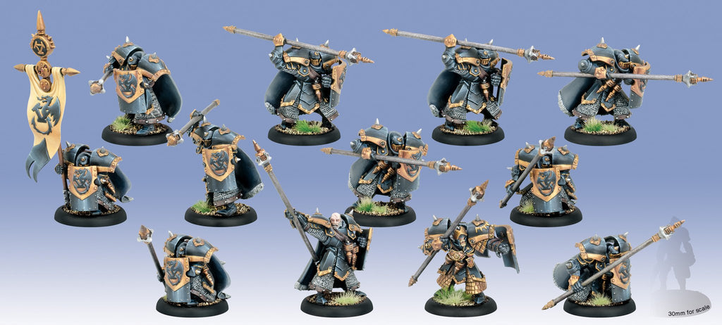 Warmachine Khador Iron Fang Pikemen/Black Dragons PLASTIC Unit w/ Attachment (12) Box WEB