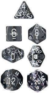 Translucent Clear/White Polyhedral dice set (7)