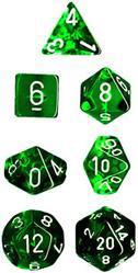 """Translucent Green/White Polyhedral dice set (7)