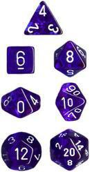 """Translucent Blue/White Polyhedral dice set (7)