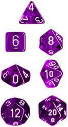 """Translucent Purple/White Polyhedral dice set (7)