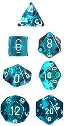 """Translucent Teal/White Polyhedral dice set (7)