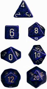 """Speckled Golden Cobalt Polyhedral dice set (7)