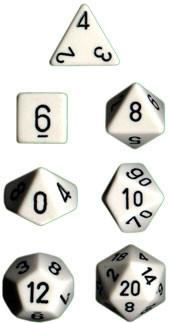 """Opaque White/Black polyhedral dice set (7)