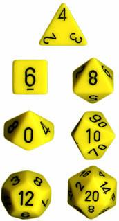 """Opaque Yellow/Black polyhedral dice set (7)