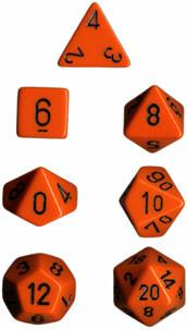"""Opaque Orange/Black polyhedral dice set (7)
