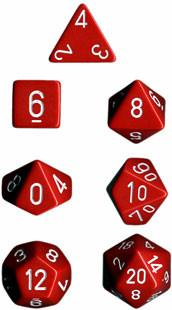 """Opaque Red/White polyhedral dice set (7)