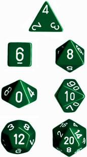 """Opaque Green/White polyhedral dice set (7)