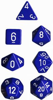 """Opaque Blue/White polyhedral dice set (7)