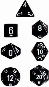 """Opaque Black/White polyhedral dice set (7)