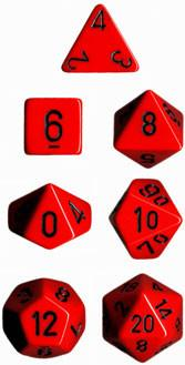 """Opaque Red/Black polyhedral dice set (7)