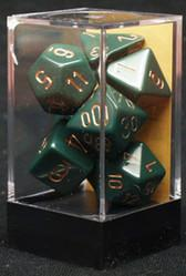 """Opaque Dusty Green/copper polyhedral dice set (7)