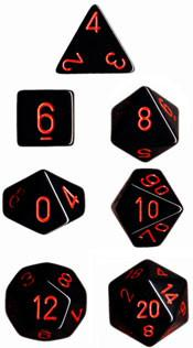 """Opaque Black/Red polyhedral dice set (7)