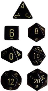 """Opaque Black/Gold polyhedral dice set (7)