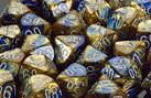 """Gemini Blue-Gold/White Polyhedral dice set (7)