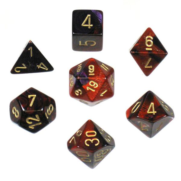 """Gemini Purple-Red/Gold Polyhedral dice set (7)