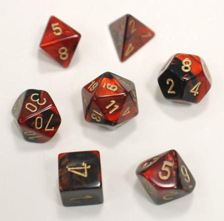 """Gemini Black-Red/Gold Polyhedral dice set (7)