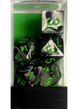 """Gemini Black-Grey/Green Polyhedral dice set (7)