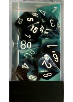 """Gemini Black-Shell/White Polyhedral dice set (7)