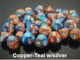 """Gemini Copper-Teal/Silver Polyhedral dice set (7)