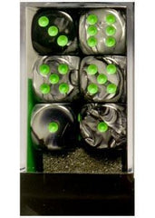 """Gemini Black-Grey/Green 16mm d6 dice set (12)