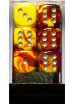 """Gemini Red-Yellow/White 16mm d6 dice set (12)